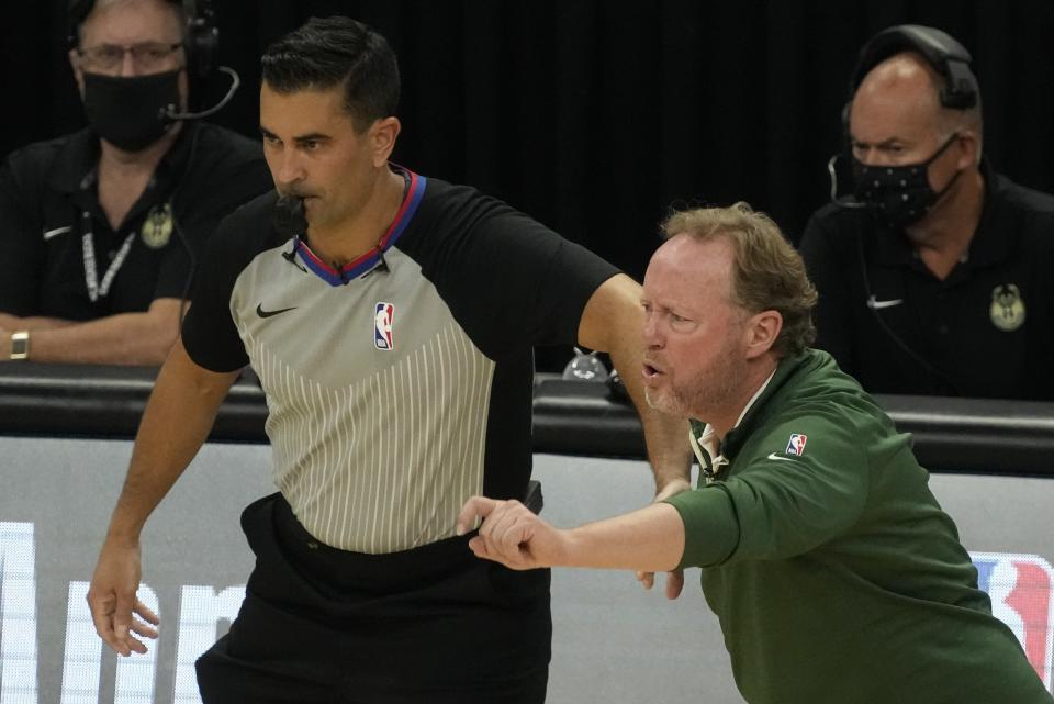 Milwaukee Bucks head coach Mike Budenholzer reacts during the second half of Game 1 of the NBA Eastern Conference basketball finals game against the Atlanta Hawks Wednesday, June 23, 2021, in Milwaukee. (AP Photo/Morry Gash)