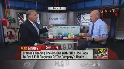 Jim Cramer sits down with Bausch Health Companies Chairman and CEO Joe Papa, who presents some of his pharmaceutical company's new products and discusses the ongoing turnaround.