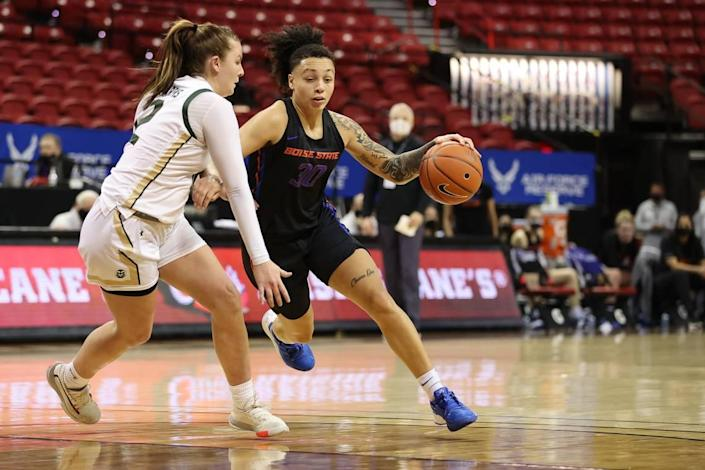 Jade Loville scored a game-best 29 points for Boise State in a 78-65 victory over Colorado State in the Mountain West Tournament quarterfinals March 8 at Thomas & Mack Center in Las Vegas. Loville is transferring to Arizona State.