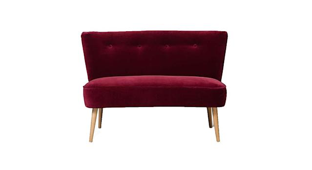Le Cocktail Velvet Mulberry Red Twin Loveseat