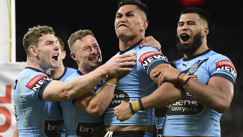 The Blues impressed in their 50-6 thumping of Queensland, but coach Brad Fittler has cautioned players not to get ahead of themselves. (Photo by Ian Hitchcock/Getty Images)