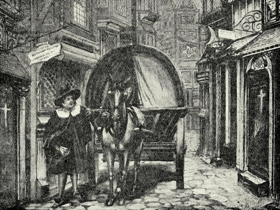 Engraving showing a dead cart being used to collect the bodies of plague victims during the Great Plague of London (Getty Images)