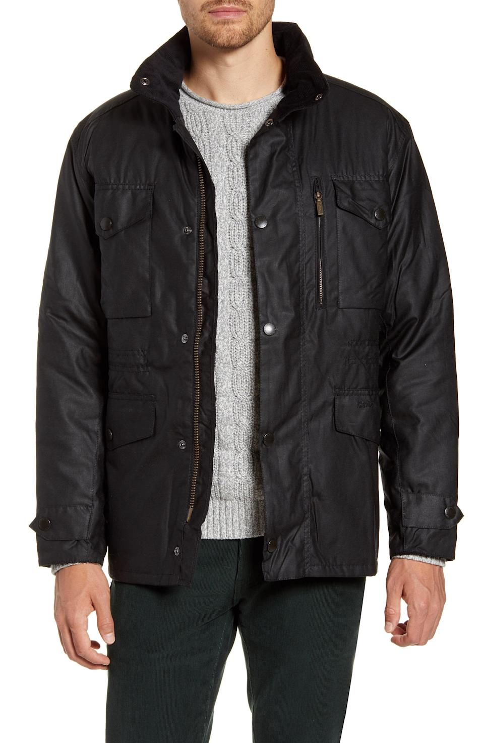 """<p><strong>BARBOUR</strong></p><p>nordstrom.com</p><p><a href=""""https://go.redirectingat.com?id=74968X1596630&url=https%3A%2F%2Fwww.nordstrom.com%2Fs%2Fbarbour-sapper-regular-fit-weatherproof-waxed-cotton-jacket%2F3362056&sref=https%3A%2F%2Fwww.townandcountrymag.com%2Fstyle%2Ffashion-trends%2Fg36557314%2Fnordstrom-half-yearly-sale-may-2021%2F"""" rel=""""nofollow noopener"""" target=""""_blank"""" data-ylk=""""slk:Shop Now"""" class=""""link rapid-noclick-resp"""">Shop Now</a></p><p>$297.50</p><p><em>Original Price: $425</em></p>"""