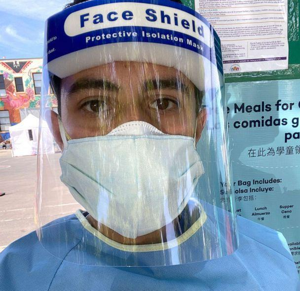 PHOTO: Francesco Sergi, a third-year medical student at the University of California, San Francisco, participated in the Unidos en Salud COVID-19 testing initiative in San Francisco. (Courtesy Francesco Sergi)