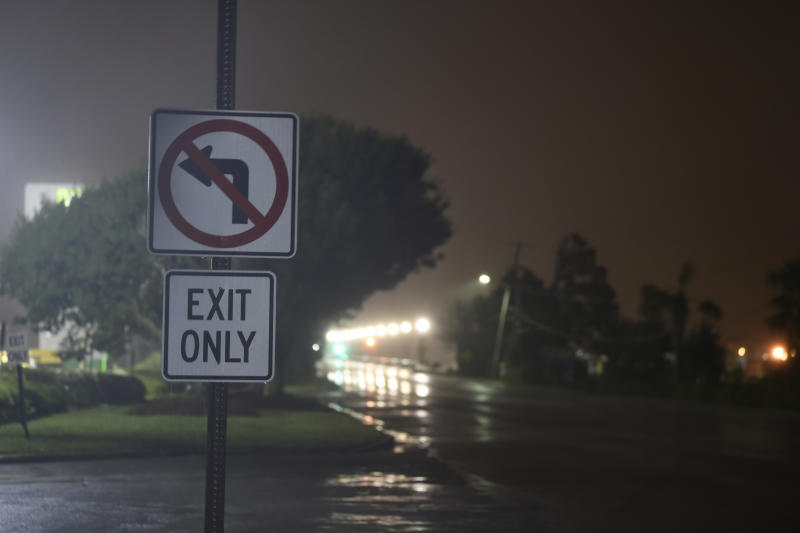 Rains and wind pelt Charleston, S.C., early on the morning of Thursday, Sept. 5, 2019, as Hurricane Dorian enters the area. Hurricane Dorian has begun raking the Southeast U.S. seaboard, threatening to inundate low-lying coasts from Georgia to southwest Virginia with a dangerous storm surge after its deadly mauling of the Bahamas. (Photo: Meg Kinnard/AP)