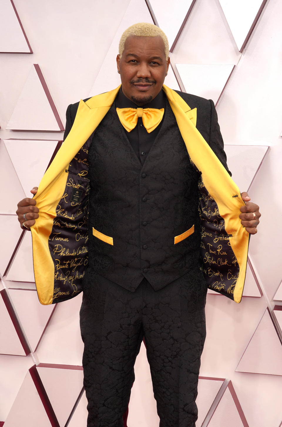 Travon Free arrives at the Oscars on Sunday, April 25, 2021, at Union Station in Los Angeles. (AP Photo/Chris Pizzello, Pool)