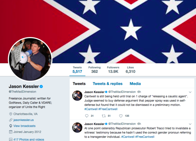Jason Kessler, the organizer of the violent white supremacist rally in Charlottesville, Virginia, in August that left one person dead, was verified on Twitter.