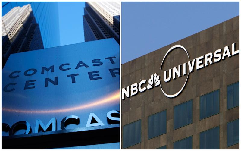FILE - This combination of Associated Press file photos shows, left, a sign outside the Comcast Center in Philadelphia in July 2010 and right, the entrance to the Universal Studios theme park in Los Angeles, on Dec. 3, 2009. Comcast said on Tuesday, Feb. 12, 2013, that it's buying General Electric's 49 percent stake in NBCUniversal joint venture for $16.7 billion. Comcast Corp. had bought a majority stake in the television and movie company in 2011. It had planned to take a larger stake in it over time. (AP Photo)