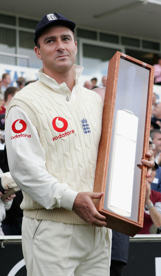 CHESTER-LE-STREET, ENGLAND - JUNE 3:  Graham Thorpe of England receives a commemorative bat to mark his 100th test match during the 2nd Npower Test match between England and Bangladesh at the Riverside Ground on June 3, 2005 in Chester-le-Street, England. (Photo by Tom Shaw/Getty Images)