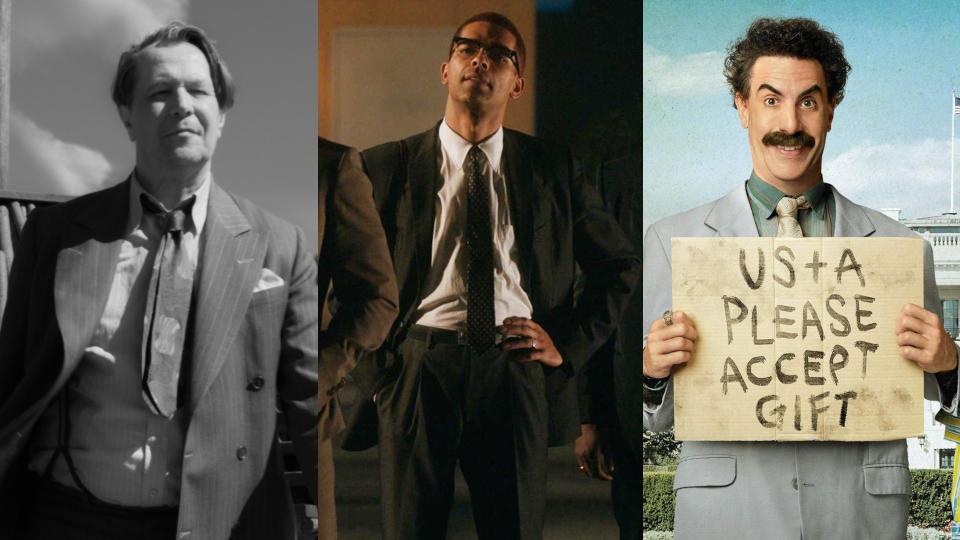 'Mank', 'One Night in Miami' and 'Borat Subsequent Moviefilm' all scored multiple nominations at the Golden Globes. (Credit: Netflix/Amazon)