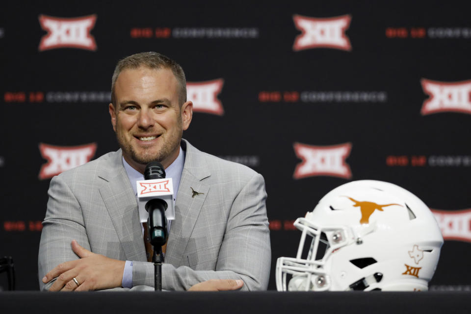 Texas head coach Tom Herman speaks during Big 12 Conference NCAA college football media day Tuesday, July 16, 2019, at AT&T Stadium in Arlington, Texas. (AP Photo/David Kent)