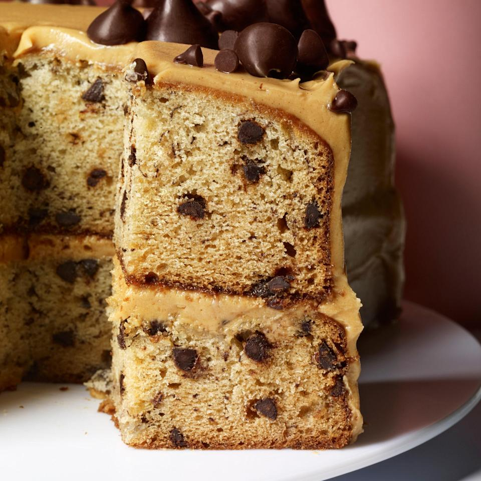 """This cake is perfect for beginners—it's moist, forgiving, and easy. The peanut butter frosting is luscious and creamy. <a href=""""https://www.epicurious.com/recipes/food/views/banana-chocolate-chip-cake-with-peanut-butter-frosting-51117350?mbid=synd_yahoo_rss"""" rel=""""nofollow noopener"""" target=""""_blank"""" data-ylk=""""slk:See recipe."""" class=""""link rapid-noclick-resp"""">See recipe.</a>"""