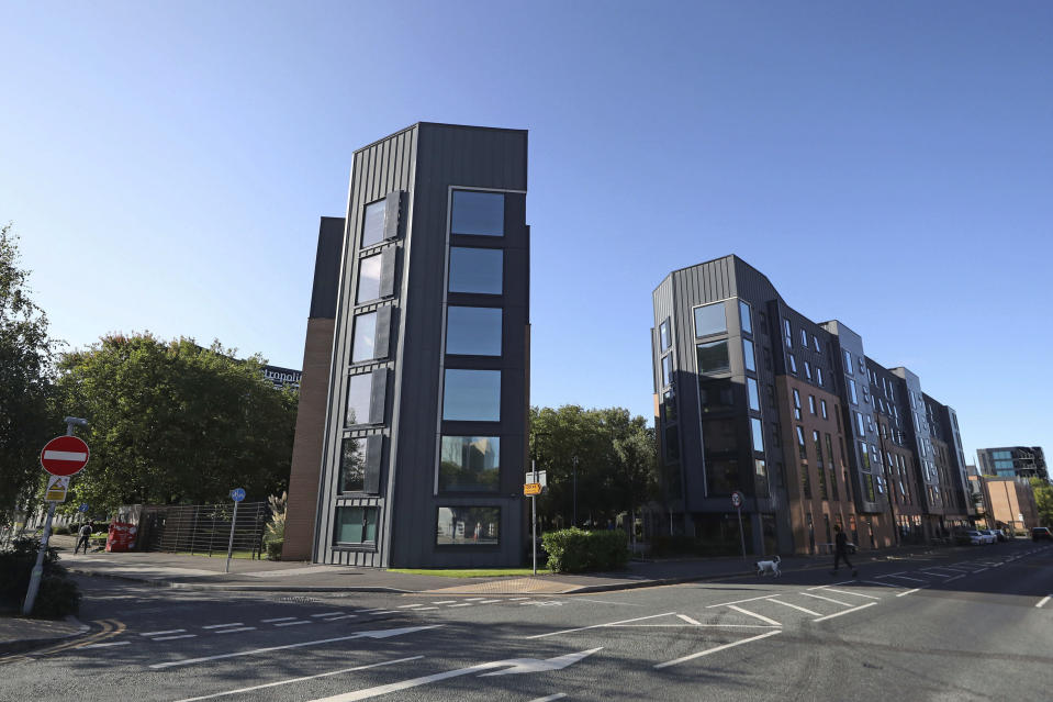 A view of Manchester Metropolitan University's Birley campus where hundreds of students have been told to self-isolate after over 100 of them tested positive for coronavirus, in Manchester, England, Saturday, Sept. 26, 2020. (Peter Byrne/PA via AP)