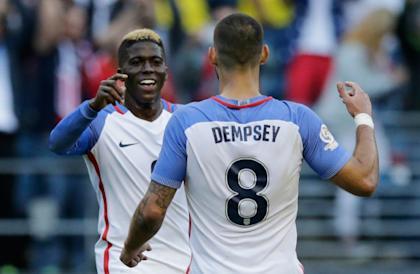 Gyasi Zardes is the best striker partner for Clint Dempsey in a 4-4-2. (AFP Photo)