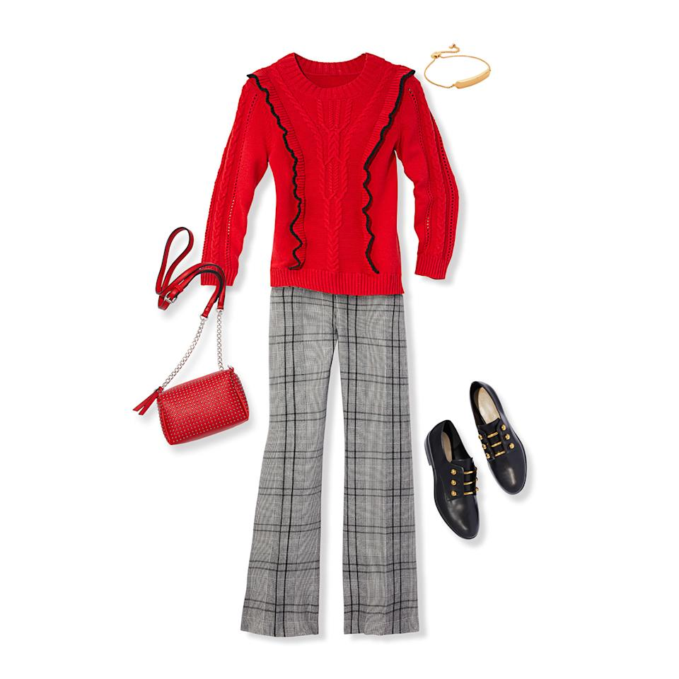 """<p>These will give personality to work outfits and, like your go-to black pants, pair nicely with both bold and more subdued tops.</p><p><strong>Get the look: </strong>Charter Club PANTS, $35, <a rel=""""nofollow"""" href=""""https://www.macys.com/shop/product/charter-club-plaid-tummy-control-trousers-created-for-macys?ID=4876258&CategoryID=157"""">macys.com</a>. Up to size 18. SWEATER, $175, <a rel=""""nofollow"""" href=""""https://www.draperjames.com/womens/apparel/sweaters/pullover/anna-ruffle-cable-sweater"""">draperjames.com</a>. BAG, $36, <a rel=""""nofollow"""" href=""""http://us.boohoo.com/womens/accessories/bags"""">us.boohoo.com</a> for similar. BRACELET, $34, <a rel=""""nofollow"""" href=""""https://www.verabradley.com/us/product/Chic-Elements-Slider-Bracelet/Silver-Tone/22357-22357237"""">verabradley.com</a>. SHOES, $63, <a rel=""""nofollow"""" href=""""https://www.zappos.com/p/nine-west-jon-black-light-grey-fabric/product/8969601/color/724662"""">zappos.com</a>.</p>"""