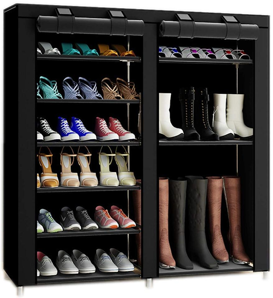 "<p>This <a href=""https://www.popsugar.com/buy/Txt-Baz-Portable-Boot-Rack-406998?p_name=Txt%20and%20Baz%20Portable%20Boot%20Rack&retailer=amazon.com&pid=406998&price=33&evar1=moms%3Aus&evar9=45714639&evar98=https%3A%2F%2Fwww.popsugar.com%2Fphoto-gallery%2F45714639%2Fimage%2F45714646%2FTxt-Baz-Portable-Boot-Rack&list1=shopping%2Camazon%2Corganization%2Cclosets%2Ccloset%20organization%2Chome%20organization%2Corganizaton&prop13=api&pdata=1"" rel=""nofollow"" data-shoppable-link=""1"" target=""_blank"" class=""ga-track"" data-ga-category=""Related"" data-ga-label=""https://www.amazon.com/TXT-BAZ-27-Pairs-Portable-Nonwoven/dp/B074LGFQFC/ref=sr_1_31?s=storageorganization&amp;ie=UTF8&amp;qid=1548181247&amp;sr=1-31&amp;keywords=shoe+organizer"" data-ga-action=""In-Line Links"">Txt and Baz Portable Boot Rack</a> ($33) is ideal for all types of shoes.</p>"