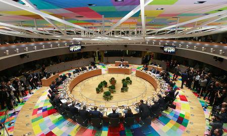 View of the meeting room during a European Union summit in Brussels