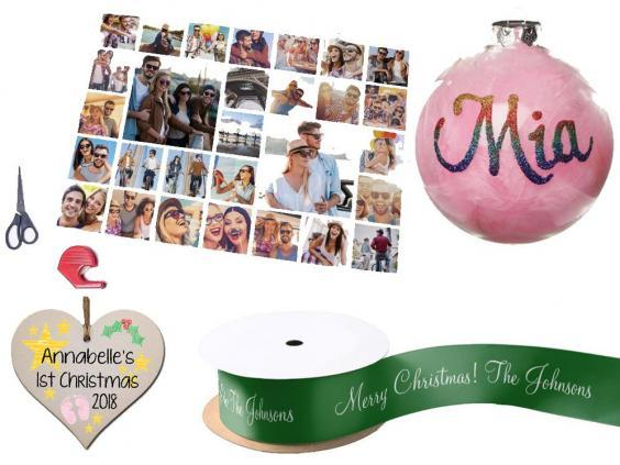 Getting Personal multi photo upload wrapping paper, £4.99; Gift In Can personalised handmade Christmas hanging wooden heart plaque, £3.49; Amazon pink feather clear glass personalised Christmas bauble, £16.25; Zazzle personalised green Merry Christmas gift ribbon, £8.15 per spool.