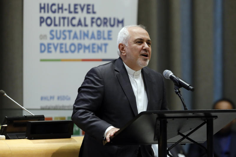 Iran's Foreign Minister Javad Zarif addresses the High Level Political Forum on Sustainable Development, at United Nations headquarters, Wednesday, July 17, 2019. (AP Photo/Richard Drew)