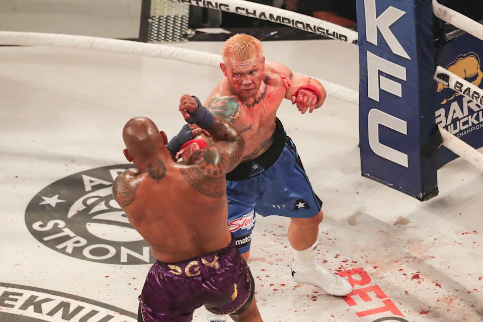Hector Lombard (pictured left) fights Joe Riggs (pictured right) during the Bare Knuckle Fighting Championships at the Seminole Hard Rock & Casino on June 26, 2021 in Hollywood, Florida.