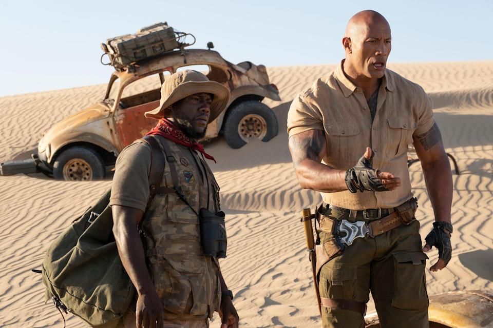 """Mouse Finbar (Kevin Hart, left) and Dr. Smolder Bravestone are video-game avatars on a new adventure in """"Jumanji: The Next Level."""""""