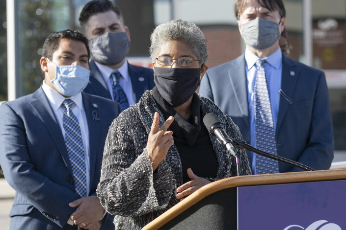 "FILE - Rep. Regina Goodwin responds to Gov. Kevin Stitt's State of the State address in front of St. Anthony's Hospital in Oklahoma City at St. Anthony's Hospital on Monday, Feb. 1, 2021. George Floyd's killing last year and the protests that followed led to a wave of police reforms in dozens of states, from changes in use-of-force policies to greater accountability for officers. Some states have done little or nothing around police and racial justice reforms, and several have moved in the opposite direction. ""These anti-protest bills were flying off the floor,"" said Goodwin. ""What that says to me is that Oklahoma is either not aware of the critical issues that America faces as it relates to racism and police abuse or folks are looking the other way because they can."" (AP Photo/Alonzo Adams, file)"