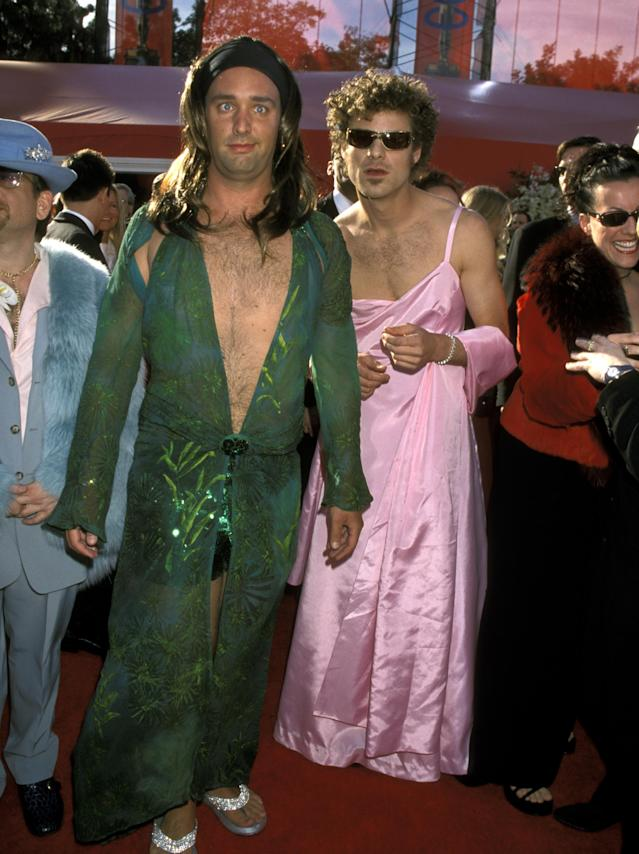 Trey Parker and Matt Stone dressed like J.Lo and GP at the 2000 Oscars. (Photo: Ron Galella/Ron Galella Collection via Getty Images)