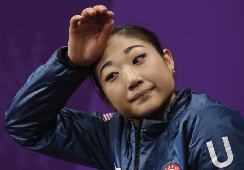 Mirai Nagasu of the United States reacts as her scores are posted following her performance in the women's short program figure skating in the Gangneung Ice Arena at the 2018 Winter Olympics in Gangneung, South Korea, Wednesday, Feb. 21, 2018. (AP Photo/Bernat Armangue)