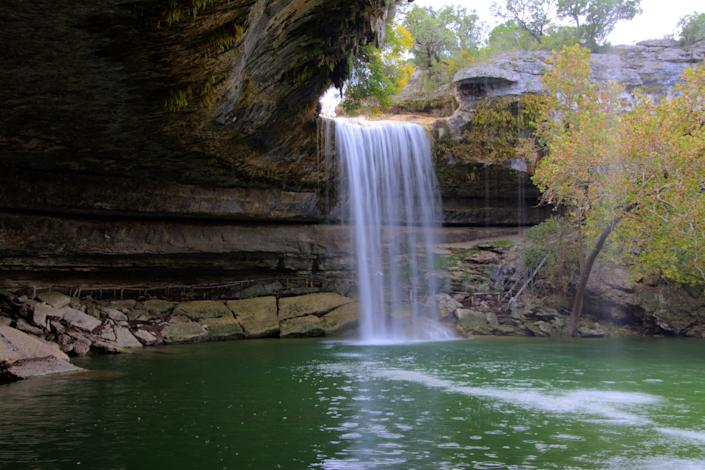 A waterfall in Dripping Springs, Texas