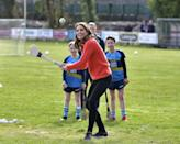 <p>Duchess Kate is willing to try basically any sport. She didn't hesitate while participating in hurling and Gaelic football with the Salthill Gaelic Athletic Association club on a trip to Galway, Ireland. </p>
