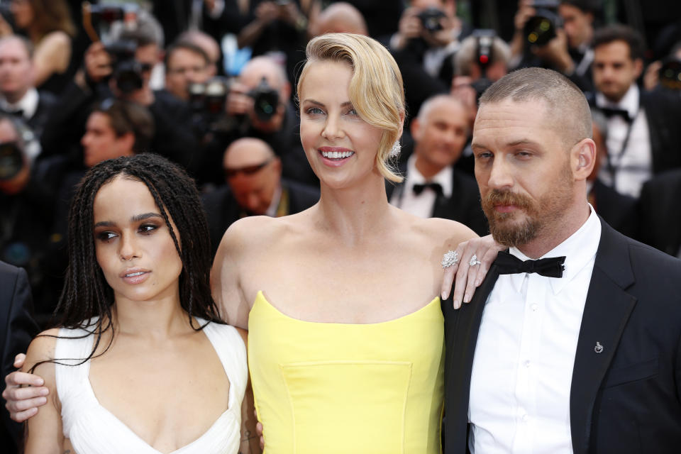 CANNES, FRANCE - MAY 14: Zoe Kravitz, Charlize Theron, Tom Hardy at the 'Mad Max : Fury Road' Premiere during the 68th annual Cannes Film Festival on May 14, 2015 in Cannes, France.  PHOTOGRAPH BY John Rasimus / Barcroft Media (Photo credit should read John Rasimus / Barcroft Media via Getty Images)