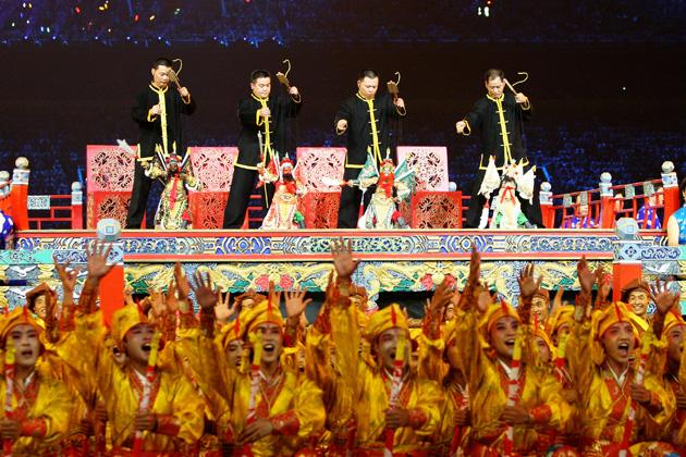 BEIJING - AUGUST 08:  Performers are pictured during the Opening Ceremony for the 2008 Beijing Summer Olympics at the National Stadium on August 8, 2008 in Beijing, China.  (Photo by Paul Gilham/Getty Images)