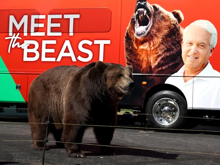 <p>A 1,000 pound bear stands in front of the campaign bus for California republican gubernatorial candidate John Cox during a campaign rally at Miller Regional Park on 4 May, 2021 in Sacramento, California</p> (Getty Images)