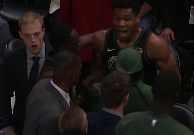 "<a class=""link rapid-noclick-resp"" href=""/nba/players/5185/"" data-ylk=""slk:Giannis Antetokounmpo"">Giannis Antetokounmpo</a> gets mad. (Screen shot via NBA)"