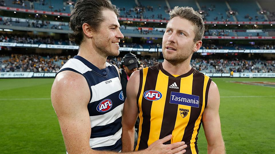Isaac Smith and Luke Breust, pictured here after Geelong's win over Hawthorn.