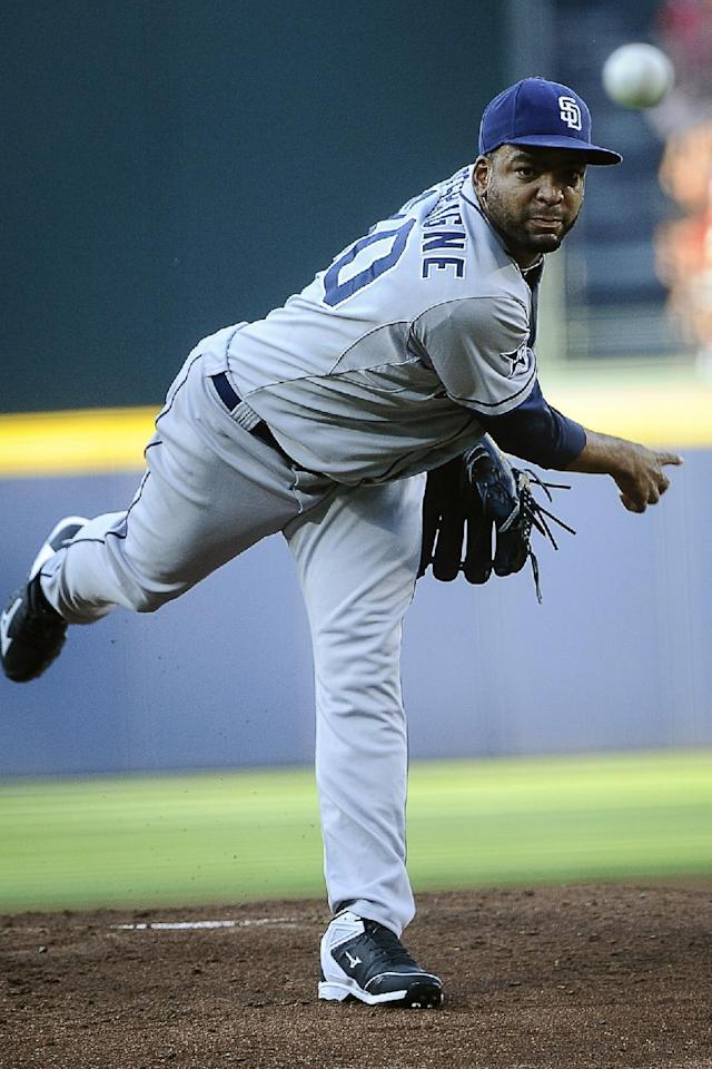 San Diego Padres pitcher Odrisamer Despaigne works the first inning of a baseball game against the Atlanta Braves, Saturday, July 26, 2014, in Atlanta. (AP Photo/John Amis)