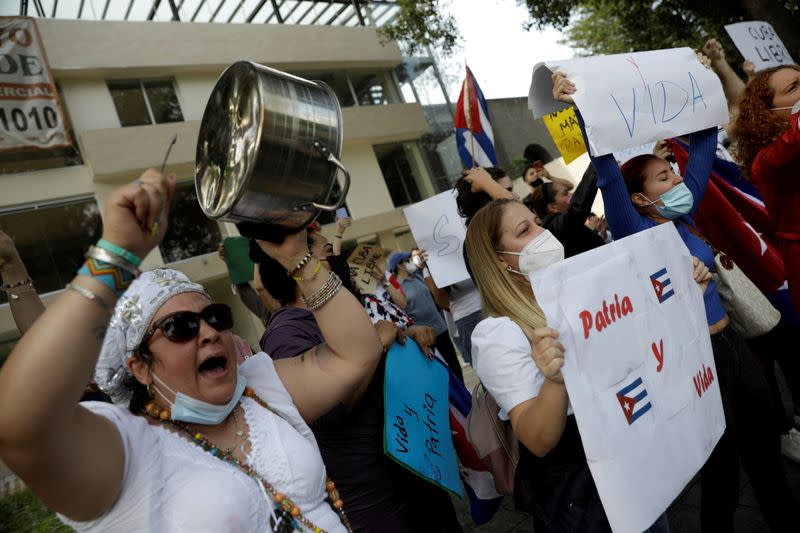 FILE PHOTO: Protest outside the Cuban Embassy in Mexico City