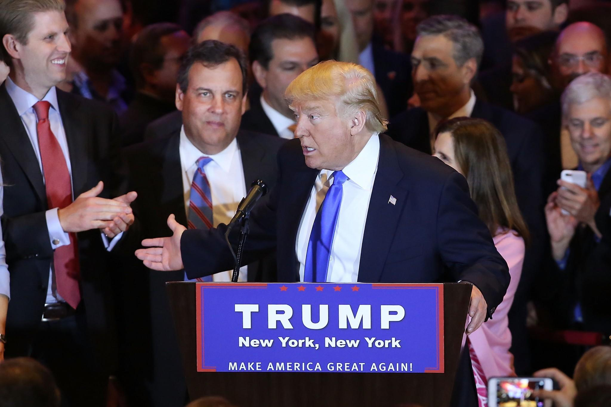 Donald Trump speaks to supporters and the media with New Jersey Gov. Chris Christie behind him at Trump Tower in April 2016. (Photo: Spencer Platt/Getty Images)