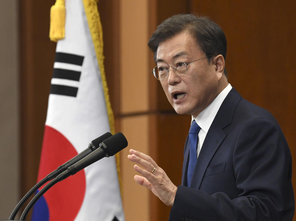 South Korean President Moon Jae-in speaks on the occasion of the third anniversary of inauguration at the presidential Blue House Sunday, May 10, 2020 in Seoul, South Korea. Moon urged citizens not to lower their guard down, but said there's no reason to be panicked amid worries about a new surge in the coronavirus outbreak in the country. (Kim Min-Hee/Pool Photo via AP)