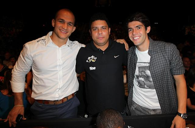 LAS VEGAS, NV - JULY 7: (L-R) Junior dos Santos, Ronaldo & Kaka in attendance during UFC 148 inside MGM Grand Garden Arena on July 7, 2012 in Las Vegas, Nevada. (Photo by Jeff Bottari/Zuffa LLC via Getty Images)