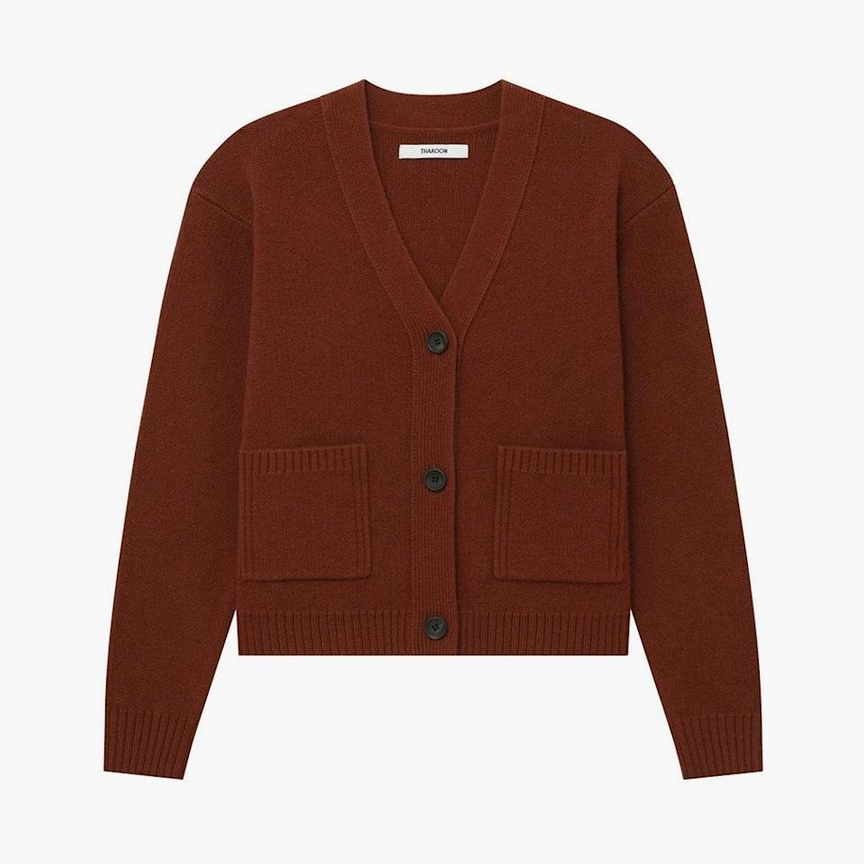 """$195, THAKOON. <a href=""""https://thakoon.com/products/cropped-wool-cardigan?variant=34147063595067"""" rel=""""nofollow noopener"""" target=""""_blank"""" data-ylk=""""slk:Get it now!"""" class=""""link rapid-noclick-resp"""">Get it now!</a>"""