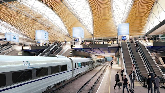 An artist's impression of the proposed HS2 station at London Euston (PA)