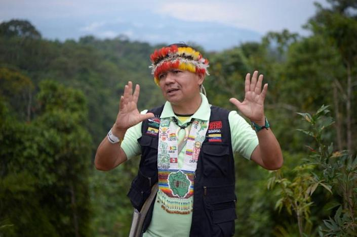 """Gregorio Mirabal says indigenous people living in the Amazon basin are fighting to save the massive tropical rainforest and prevent a global """"apocalypse"""" (AFP/Rodrigo BUENDIA)"""