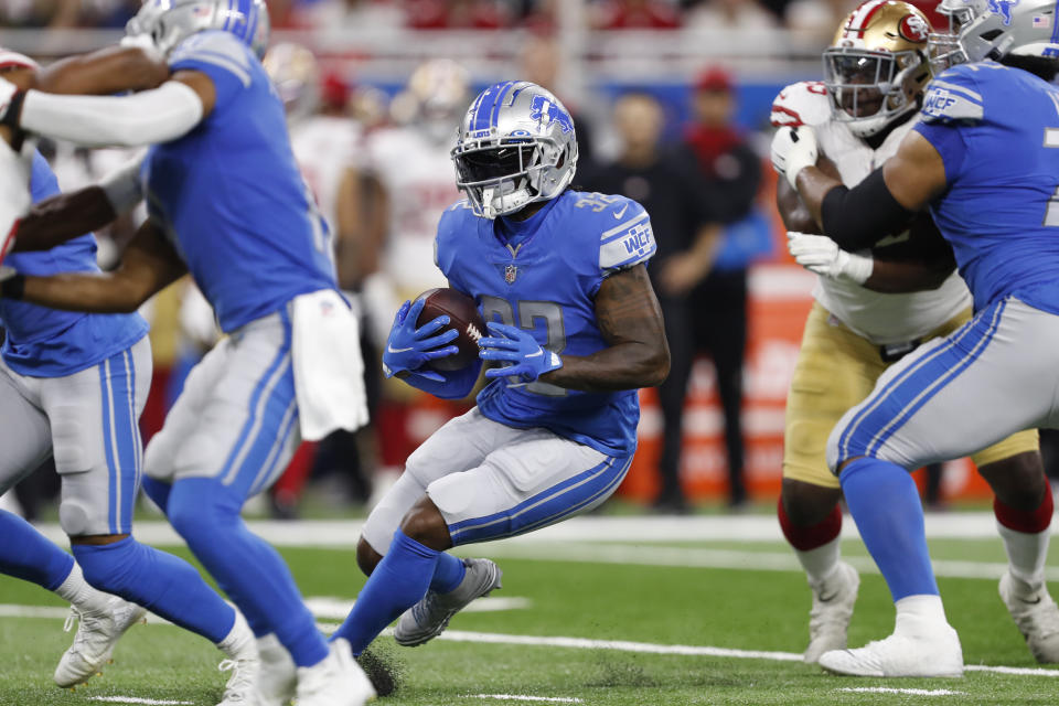 D'Andre Swift leads the Lions in carries and has the second-most targets. (Raj Mehta/USA TODAY Sports)