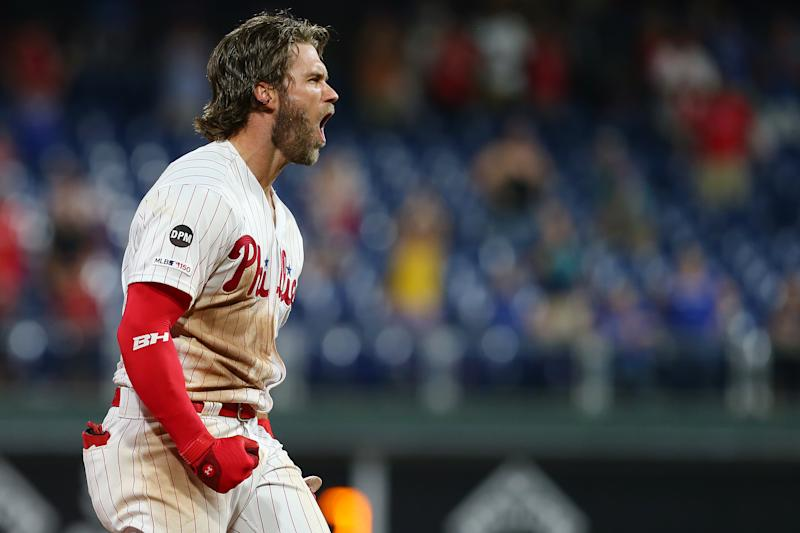 Bryce Harper ensured the Phillies wouldn't suffer a second straight painful loss to the Dodgers Tuesday with a walk-off double to secure victory. (Getty)