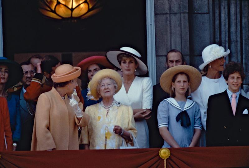 Lady Gabriella Windsor (pictured on the right) as a child on the Buckingham Palace balcony [Photo: Getty]