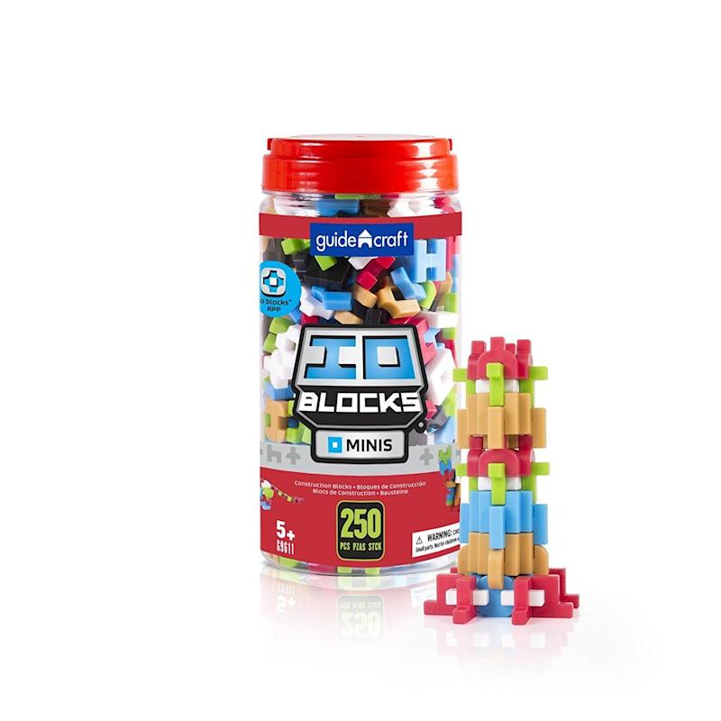 "With 250 pieces to build from, these <a href=""https://www.amazon.com/Guidecraft-Blocks-Minis-Miniature-Educational/dp/B01BMOF142"" target=""_blank"">IO blocks</a> will help with creative thinking and spatial reasoning."
