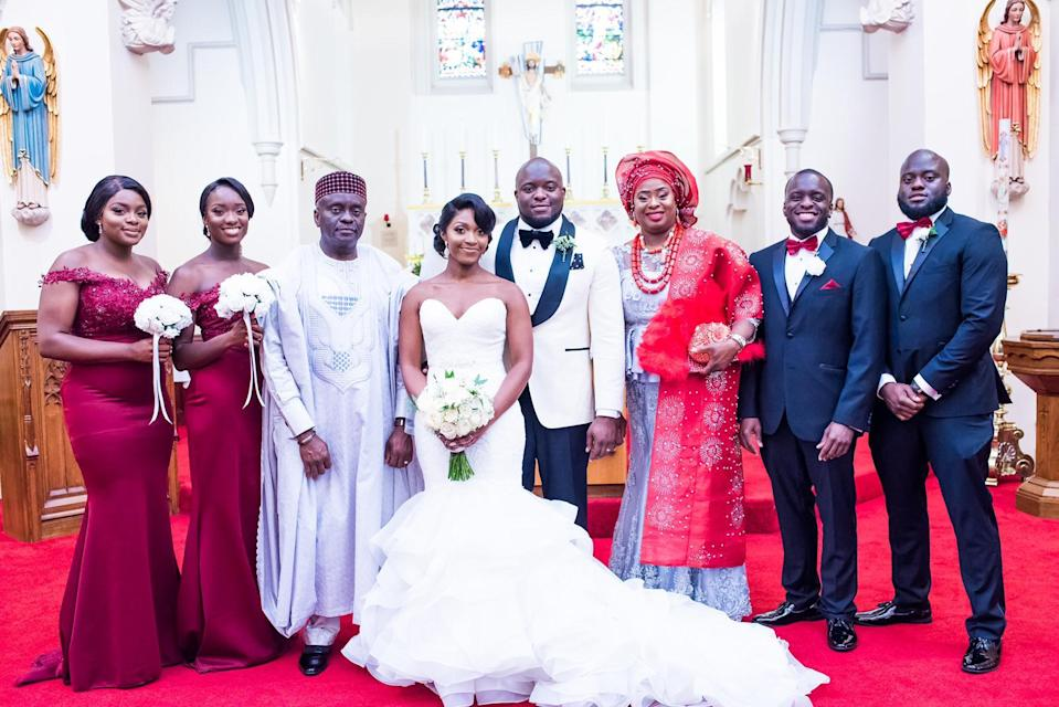 Mrs Udeagbala (third from right) with (left to right) her daughters Angelica and Cheyrinne, husband Francis, daughter-in-law Lorette, and sons Colin, Gerard and Marvin (Colin Udeagbala/PA)