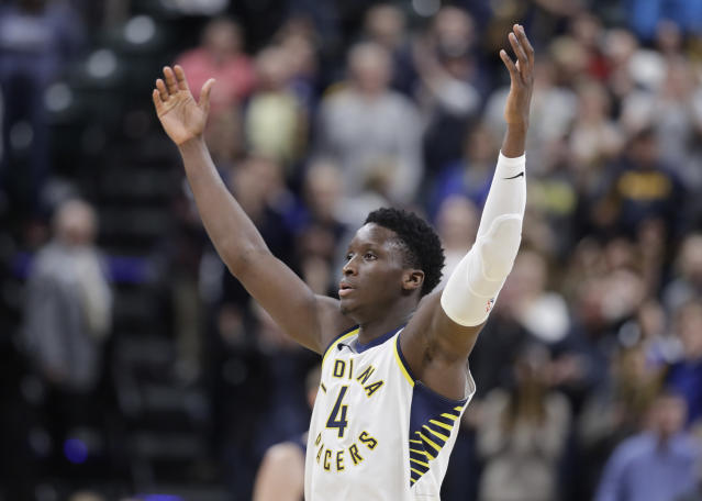 """<a class=""""link rapid-noclick-resp"""" href=""""/nba/teams/ind/"""" data-ylk=""""slk:Indiana Pacers"""">Indiana Pacers</a> guard <a class=""""link rapid-noclick-resp"""" href=""""/nba/players/5153/"""" data-ylk=""""slk:Victor Oladipo"""">Victor Oladipo</a> has been among the biggest surprises of the Fantasy Basketball season. (AP Photo/Darron Cummings)"""