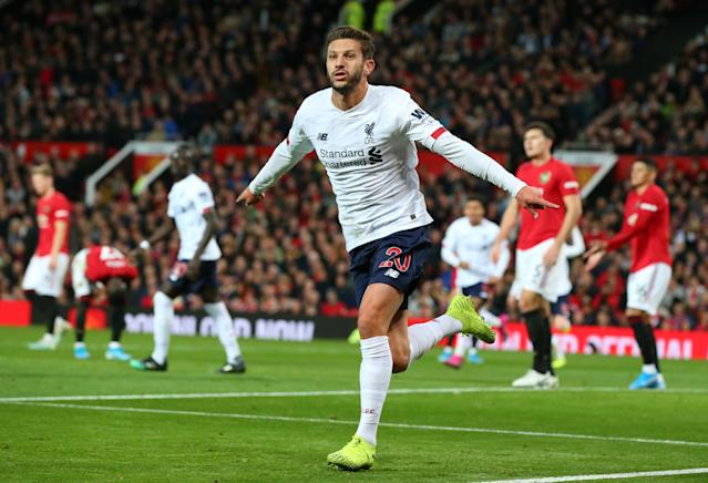Lallana's late equaliser saw Liverpool share the spoils. (Photo by Alex Livesey/Getty Images)